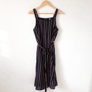 Potter's Pot Striped Button Down Midi Dress Sz Med